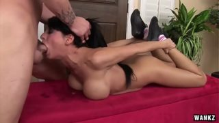 Alison Star big tittied brunette swallows cock in deepthroat